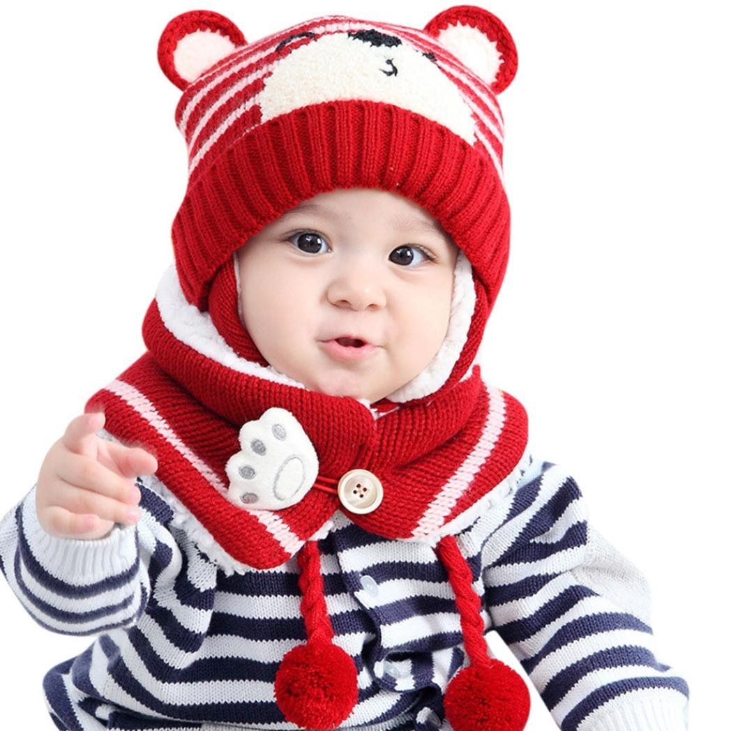 CHshe Baby Boys Girls Cute Cartoon Bear Knitted Cotton Scarf+Hat Set With Earflap