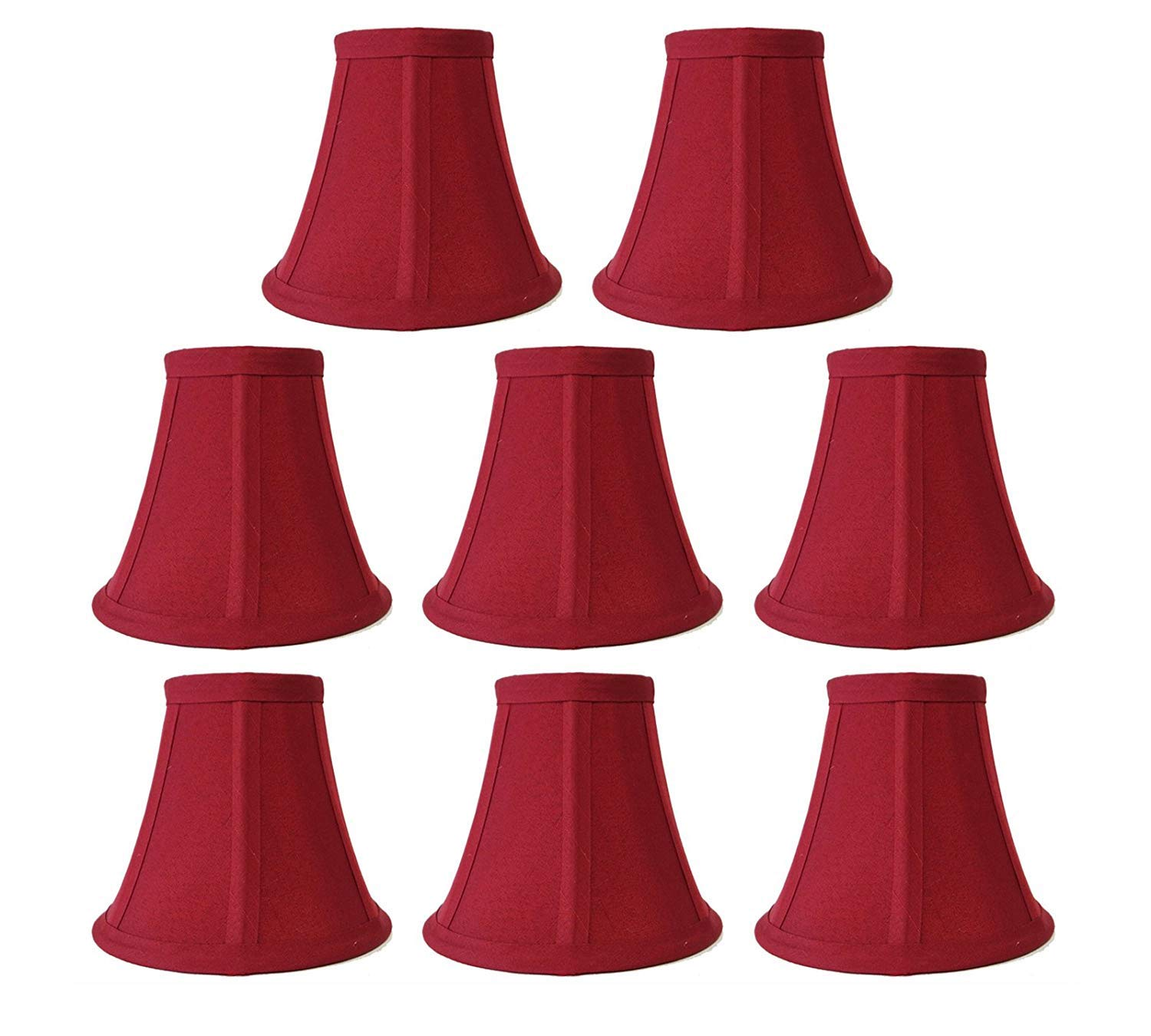 Premium Quality 8-Pack Mini Bell Lamp Shade Lampshade 5''H Clip On Style(8pcs) for Chandeliers Wall Sconces Accent Lamps Beautiful Lighting Decor Red Color
