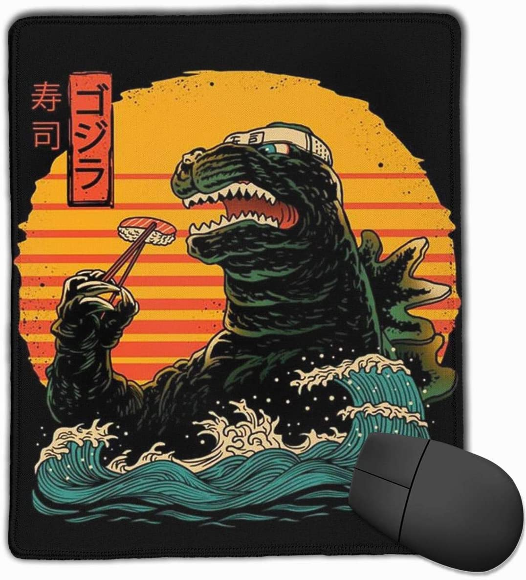 Japanese Kaiju Movie Parody Godzilla King of Sushi Mouse Pad Laptop Office Supplies Gaming Mouse Pad Fit Desktop Personal Computer Console