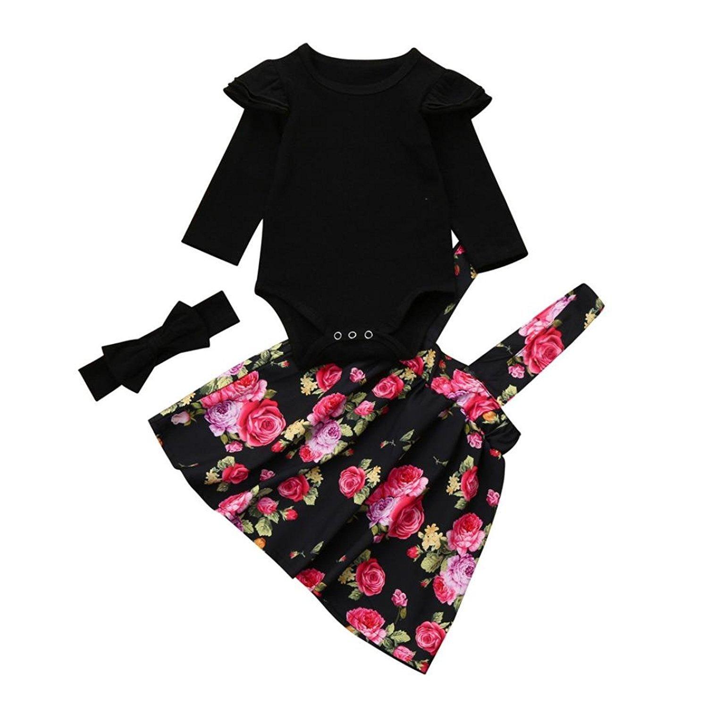 For 0-18 Month Baby, Webla Newborn Infant Kids Baby Girls Ruffle Shoulder Romper Tops+Floral Tutu Party Princess Dress+Bowknot Headband Set