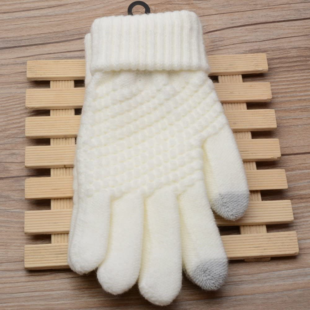 Panpany Sale Womens Winter Touchscreen Stretch Cashmere Wool Knitted Thick Warm Gloves for Women