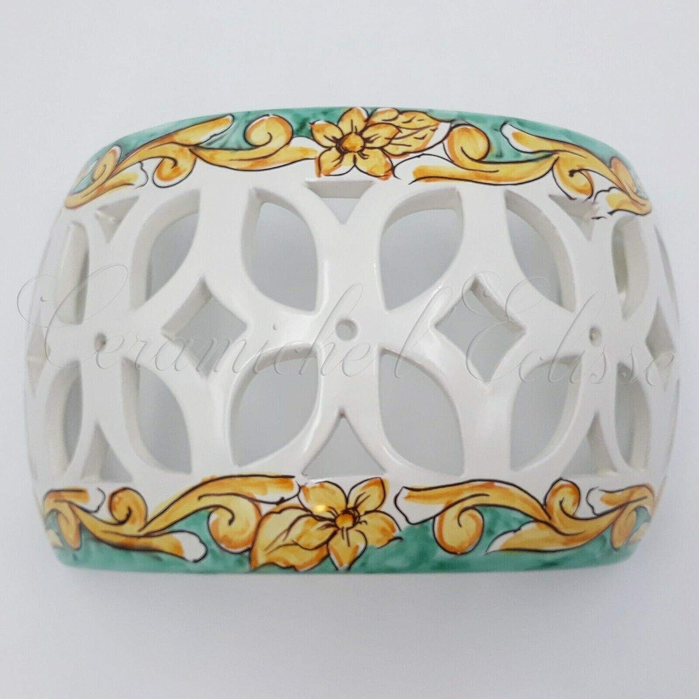 Lampade In Ceramica Di Vietri.Applique Da Parete Interno Esterno Ceramica Di Vietri Artigianale Barocco Verde Amazon It Illuminazione