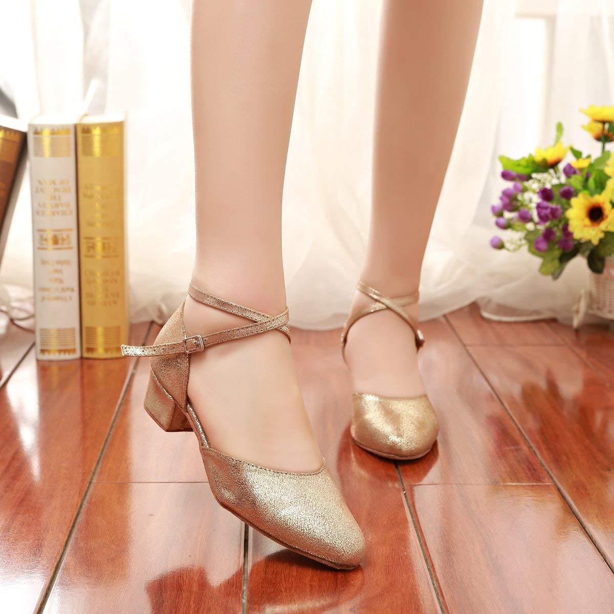 HhGold Mädchen Damen Knöchelriemen Knöchelriemen Knöchelriemen Gold Glitter Latin Dance Schuhe Hochzeit Pumps UK 6.5 (Farbe   -, Größe   -) 2604e6
