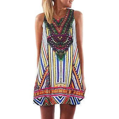 Women Dress Godathe Women Loose Summer Vintage Sleeveless 3D Floral Print Bohe Tank Short Mini Dress