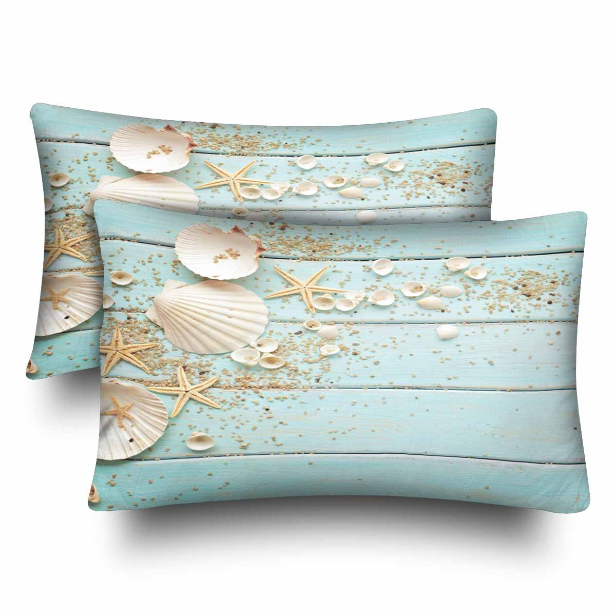InterestPrint Starfish Seashell Wood Summer Hawaii Beach Seaside Nautical Pillow Cases Pillowcase Standard Size 20x30 Set of 2, Rectangle Pillow Covers Protector for Home Couch Sofa Decorative