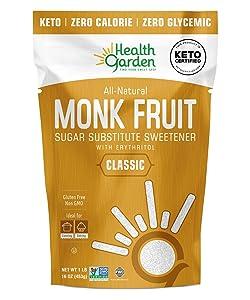 Health Garden Monk Fruit Sweetener, Classic - Non GMO - Gluten Free - Sugar Substitute - Kosher - Keto Friendly (1 lb)