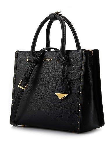 b36b781f1f76 LA FESTIN Women s Tote Style Leather Handbags with Long Cross Body Strap  Medium Top Handle