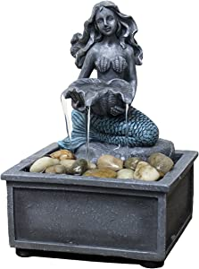 "Nature's Mark 7"" High Mermaid Table-top Fountain with Adapter"