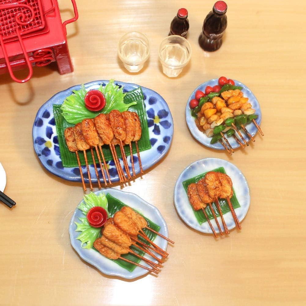 NarutoSak BBQ Plate Model,Kids Miniature Barbecue BBQ Food Plate Model Toy 1/12 Doll House Scene Accessory Random Style