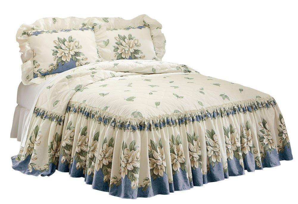 Collections Etc Magnolia Garden Floral Ruffle Skirt Lightweight Bedspread, Blue, Queen