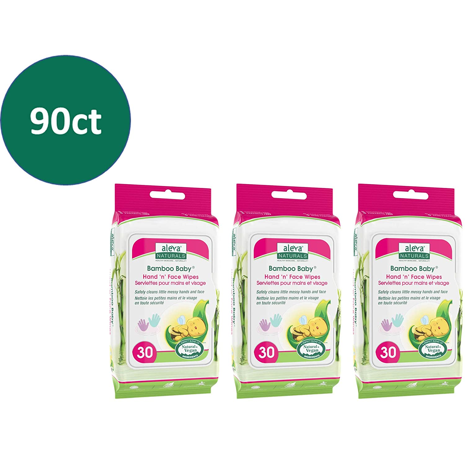 Aleva Naturals Bamboo Baby Hand and face Wipes 3 X 30ct = 90ct 90 count