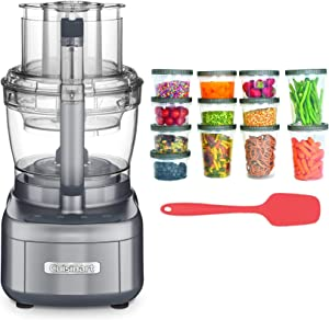 Cuisinart FP-13DGM Elemental 13-Cup Food Processor (Gunmetal Gray) w/Silicone Spoon Spatula & Storage Containers Bundle (3 Items)