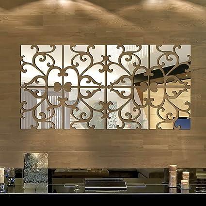 Bricolaje extraíble Anself 3D espejo de acrílico etiqueta de la ...