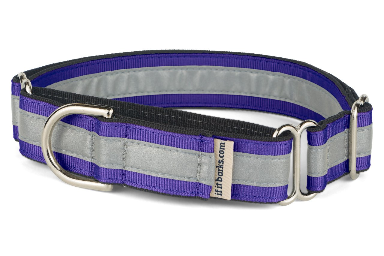 If It Barks 1'' Reflective Martingale Collar for Dogs, Adjustable, Made in USA, Medium, Purple