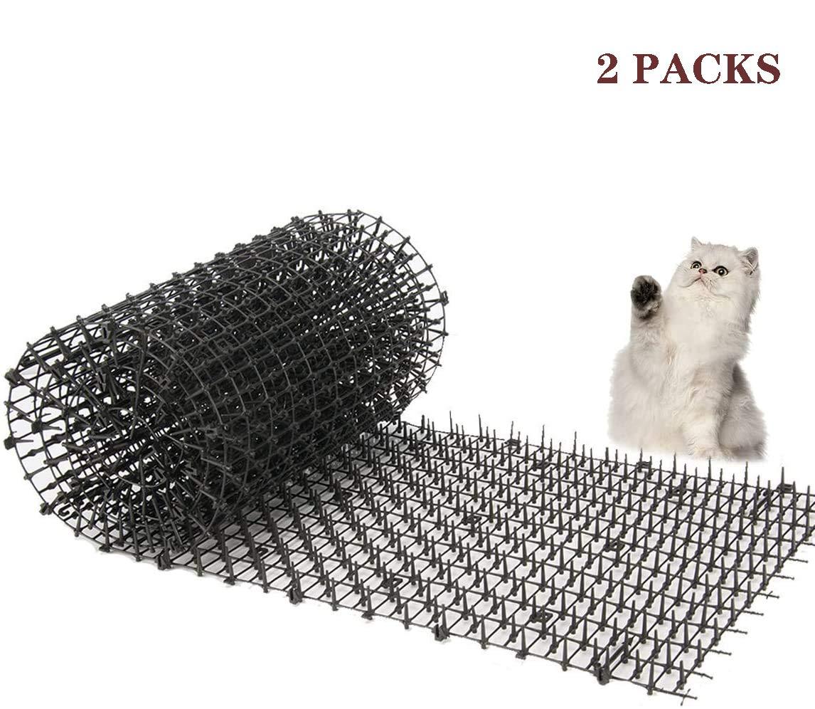 Kyrieval - Esterilla para gatos (2 unidades) con picos antigatos, tiras de espigas para animales de mascotas, repelente para disuasión