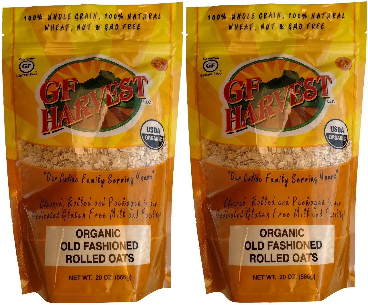 GF Harvest Gluten Free Certified Organic Rolled Oats, Non GMO, 20 oz Bag, Non-GMO, Certified Organic, 2 Count by GF Harvest (Image #1)