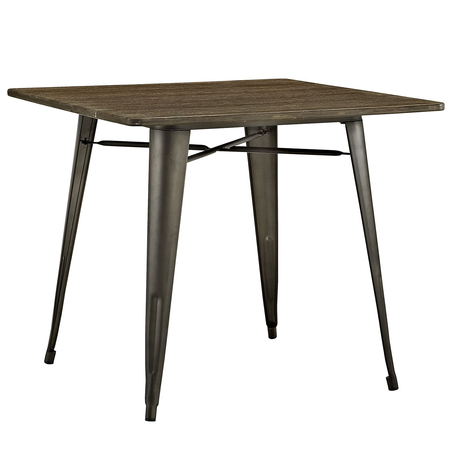 """Modway Alacrity Square Wood Dining Table, Brown, 36"""""""