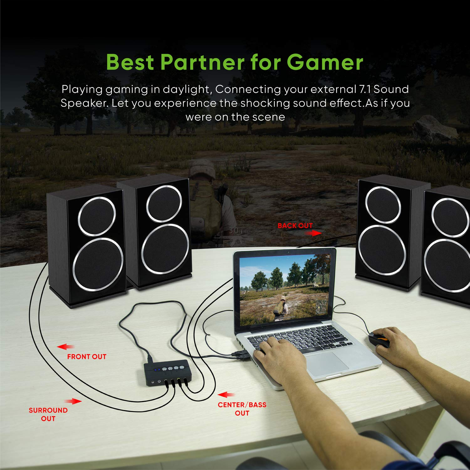 3D Surround Sound,SPDIF,2 Mic External USB Audio Adapter for Gamers