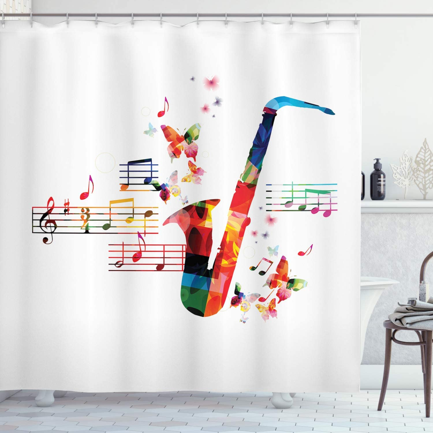 """Ambesonne Music Shower Curtain, Colorful Saxophone Design with Butterflies and Sheet Music Creative Illustration, Cloth Fabric Bathroom Decor Set with Hooks, 70"""" Long, Multicolor"""