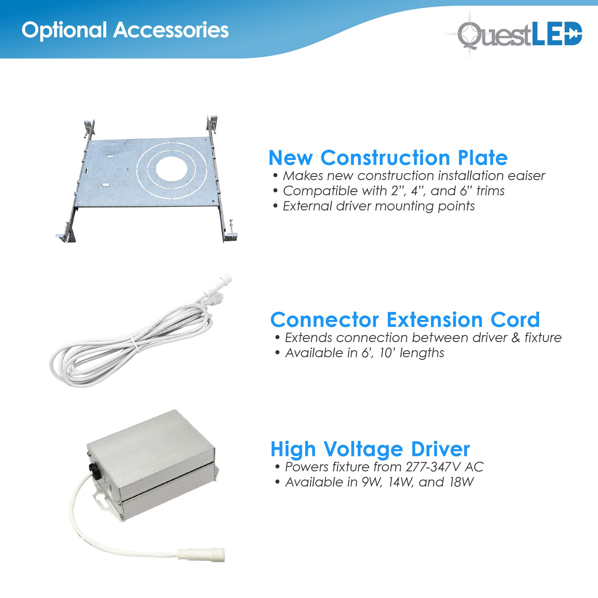 6'' Slim Recessed Panel Ceiling Downlight Ultra Thin Wafer with Junction Box; 14W=50W Equivalent; 3-in-1 CCT: 3000k/4000k/5000k, 950 lumens, 120V, Dimmable, IC Rated, ETL/ES/JA8 (18 Pack) by Quest LED (Image #8)