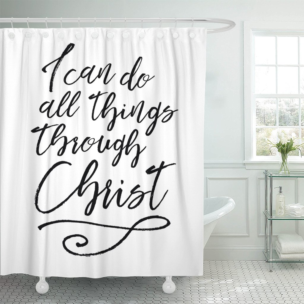 Breezat Shower Curtain I Can Do All Things Through Christ Biblical Typographic Brush Script Scripture Verse with Swash Accent Waterproof Polyester Fabric 72 x 78 Inches Set with Hooks by Breezat