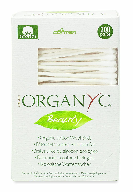 Organyc Wattestäbchen aus 100% biologischer Baumwolle in biologisch abbaubarer Verpackung, 4er Pack (4 x 200 Stück)