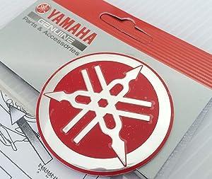 Yamaha 1YC-F313B-Q3-RE - Genuine 55MM Diameter Yamaha Tuning Fork Decal Sticker Emblem Logo Red/Silver Raised Domed Metal Alloy Construction Self Adhesive Motorcycle/Jet Ski/ATV/Snowmobile