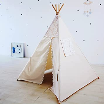 Princess Teepee Fairy Tent - 5u0027 Large Handcraft Beige Lace Pompon Cotton Canvas Play Tent & Princess Teepee Fairy Tent - 5u0027 Large Handcraft Beige Lace Pompon ...