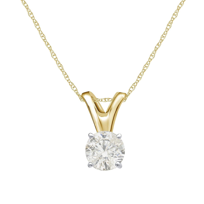 14K Gold Diamond Solitaire Pendant