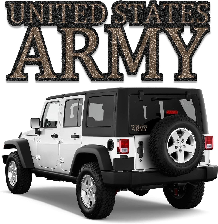 "BriCals Vinyl Decals US Army Military Car & Truck Window Decal Sticker Black& Gold Metallic Glitter Vinyl 5.5""x 2.125"" 5 Year Outdoor, Made in USA, for Windows, Bumper, Water Bottle, Laptop, etc."