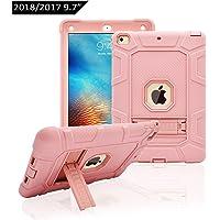 Dailylux Custodia Nuovo iPad 2017/2018,Custodia in 3 Strati di Morbido Silicone con Kickstand per Nuovo iPad 9.7 Pollici 2017/2018(A1822/A1823/A1893/A1954)-Oro Rosa