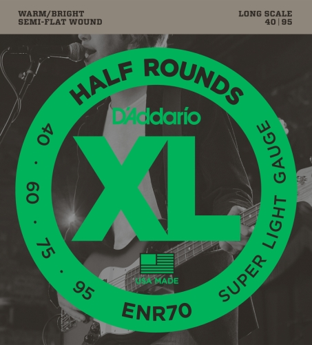 D'Addario ENR70 Half Round Bass Guitar Strings, Super Light,  40-95, Long -