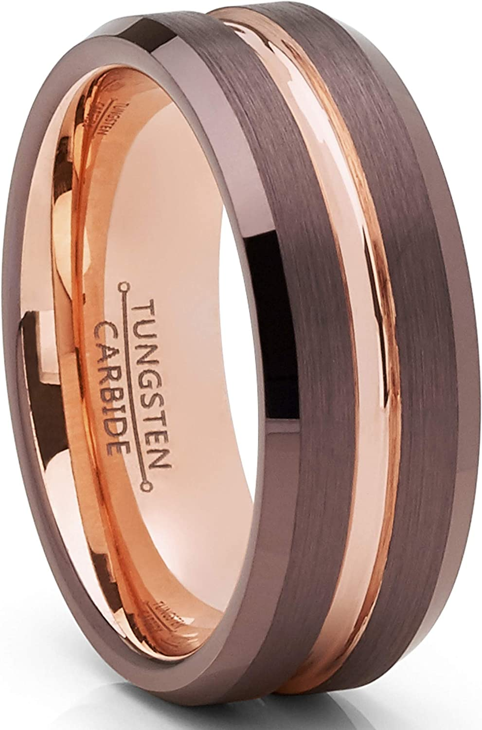 Metal Masters Co. Men's Chocolate Brown and Rose Goldtone Tungsten Carbide Wedding Band Ring 8mm
