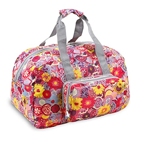 0ca377b4b5ba Girls Pink Purple Yellow Pansy Floral Themed Carry on Foldable Duffle Bag