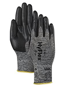 Ansell 103384 HyFlex 11-801 Grey and Black Nitrile Coated Machine Knit Gloves, 0.42
