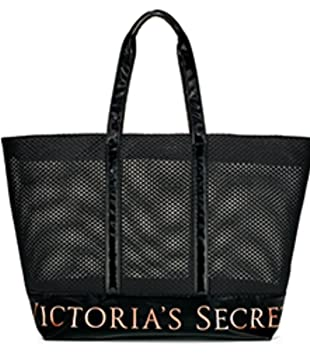 9bbbe14f13 Amazon.com  VICTORIA SECRET LARGE MESH BLACK TOTE WITH ROSE GOLD ACCENTS  BAG TRAVEL CARRY ALL COSMETIC  GMVC