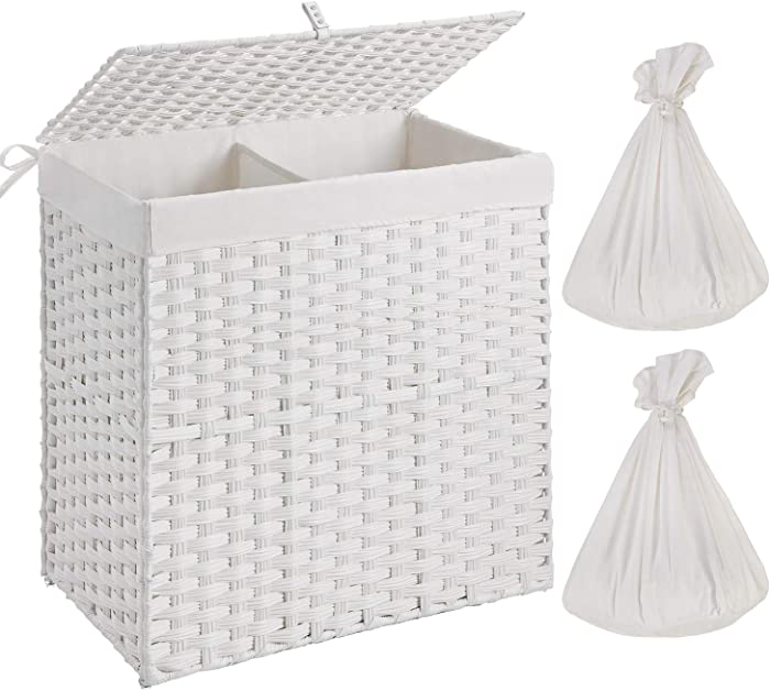 Greenstell Handwoven Laundry Hamper with 2 Removable Liner Bag, Synthetic Rattan Laundry Basket with Lid and Handles, Foldable and Easy to Install White (Larger Size)