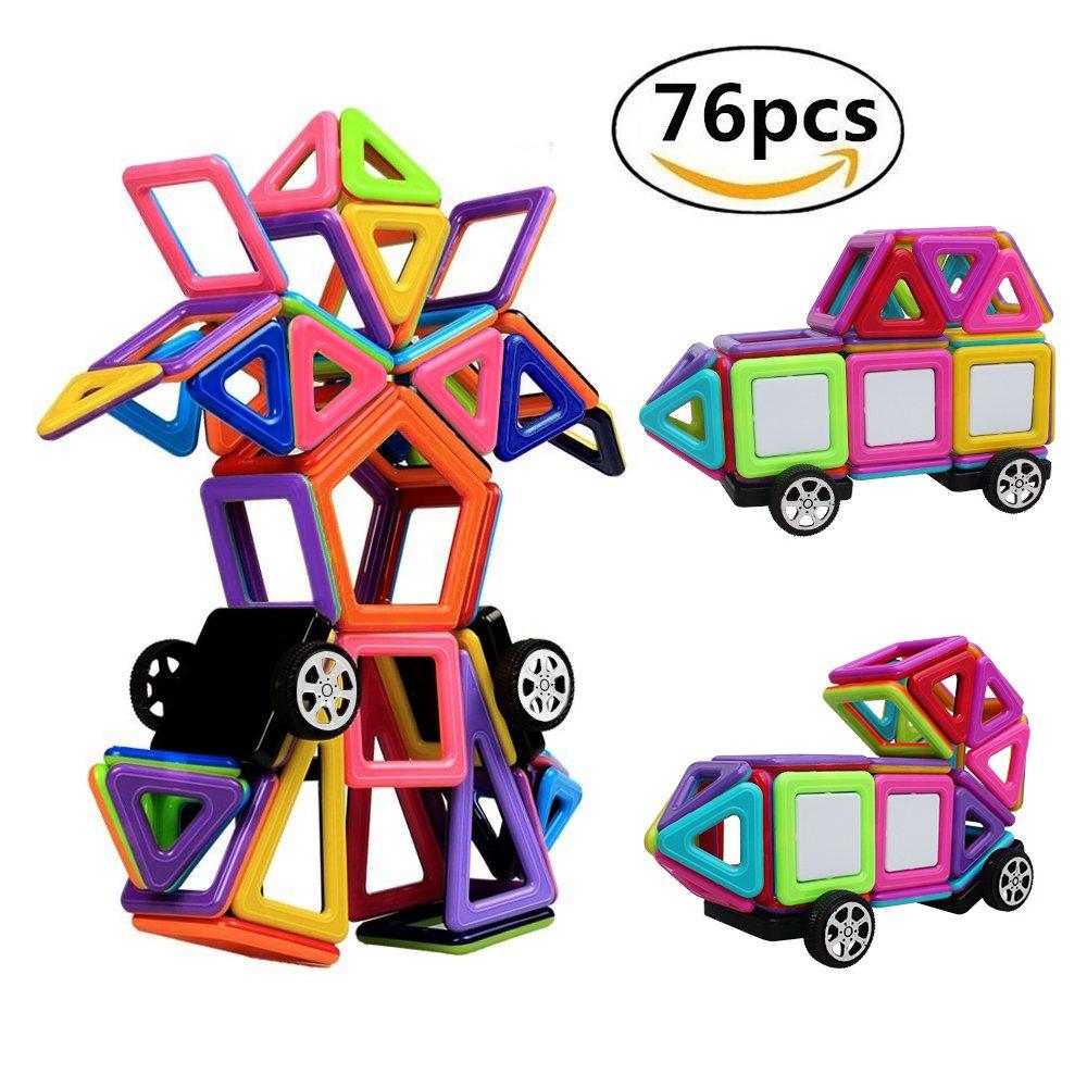 StillCool Bausteine Magnetische 76 PCS Magnetische Bauklötze DIY 3D Lernspielzeug für Baby, Kleinkinder Geschenk für Kinder Kleinkind ab 3 Jahre (bunt) STFXE10442