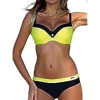 Voqeen Mujer Bikini de Gradiente de Color Establece Retro Empuja hacia Arriba Dos Piezas Acolchadas Lunares/Rayas…