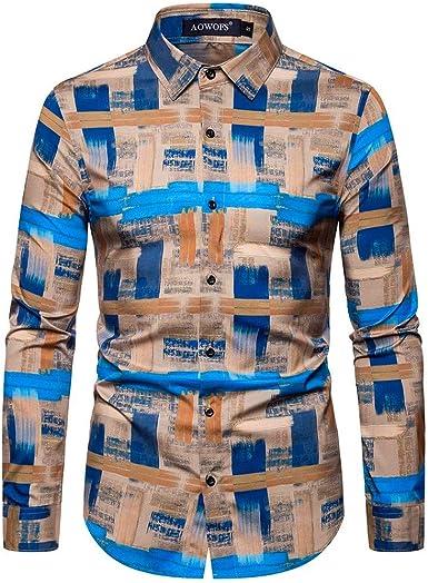 Aiserkly - Camisa de Manga Larga para Hombre, Estilo étnico ...