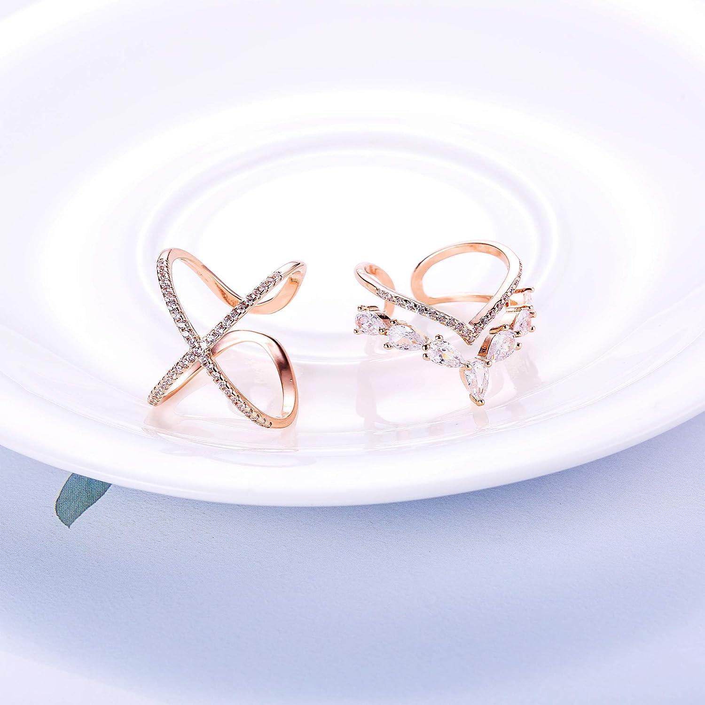 l1 2-r1 Milacolato 2PCS Ton Or Rose bagues pour Les Femmes Zircon cubique Forme v Ouvert bagues r/églable Bague de Mariage Bague midi bagues 2