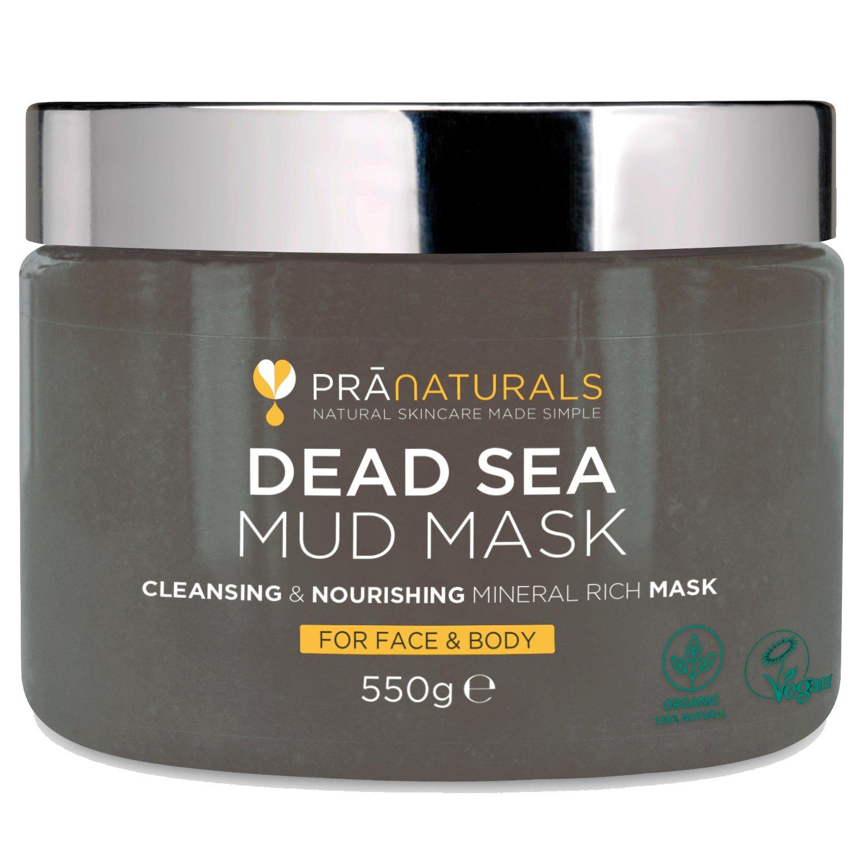Masque facial et corporel de boue de la Mer Morte 100 % naturel PraNaturals, 550 g – Naturellement riche en minéraux nourrissant, hydrate et détoxifie la peau, nettoie les pores, exfolie et gomme les cellules de peau morte, élimine l'acné, soulage les doul