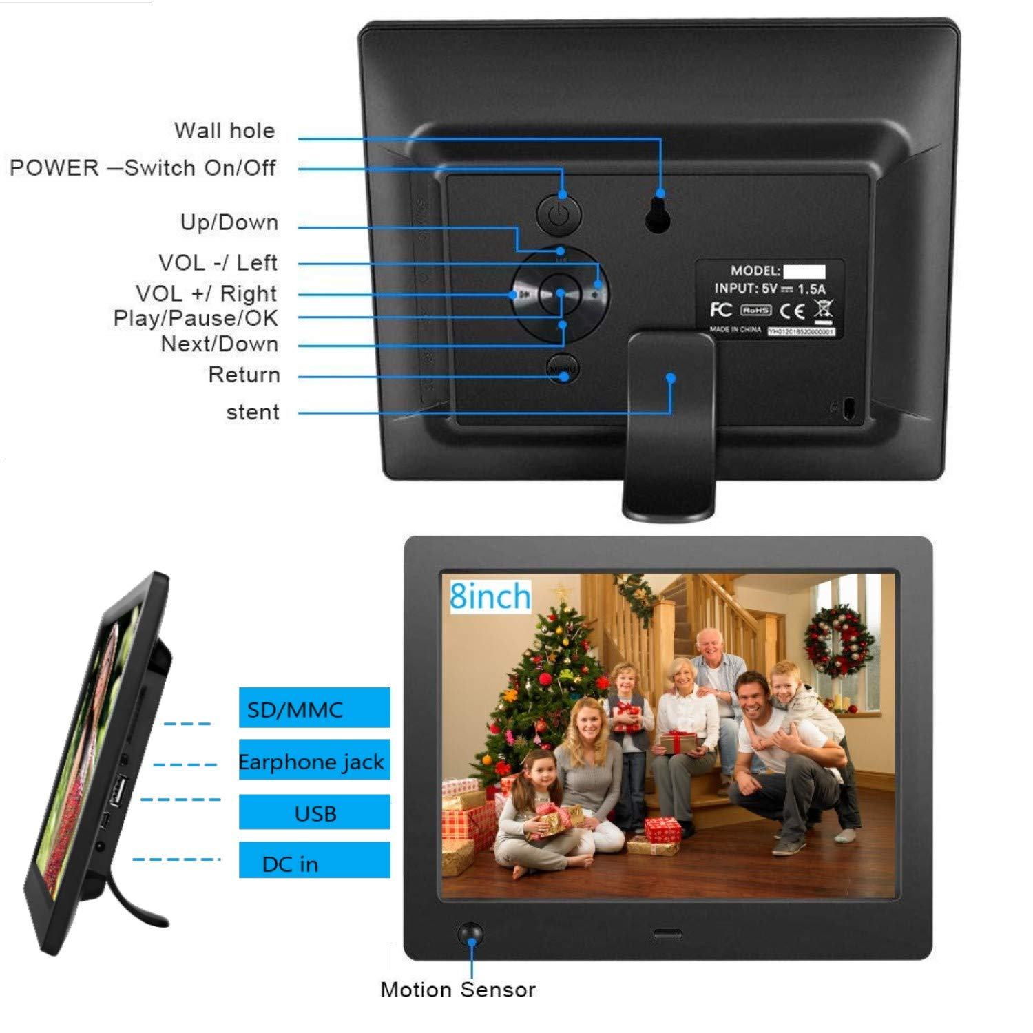 Digital Picture Frame 8 inch, Digital Photo Frame Video Player with Motion Sensor Smart Electronics Picture Frame High Resolution 1024x768 IPS LCD/1080P 720P /Stereo/MP3/Calendar/Time/Remote Control by Quality Life (Image #7)