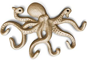 10.5 inch Gold Cast Iron Decorative Octopus Hook Wall Mount Key Holder Great for Hanging Keys, leashes, Light Clothing |Octopus Bathroom Decor, Octopus Decor, Octopus Wall Art, Key Hanger