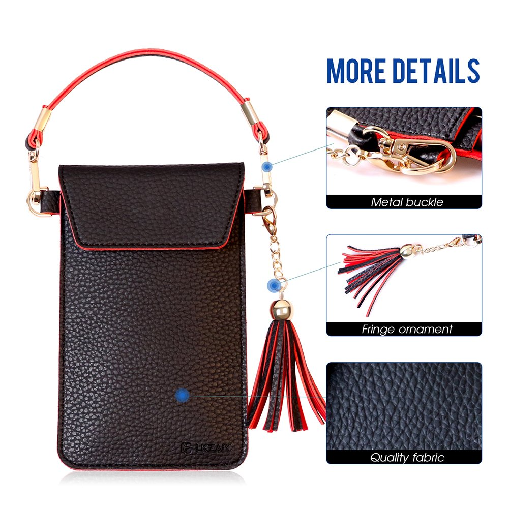LKZAIY PU Leather Crossbody Bag Mini Phone Pouch with Shoulder Strap for iPhone 7 Plus, 6S Plus, 6 Plus, 7, 6S, 6, 5S, 5C, Samsung S8, S7 Edge, S6 Edge+, S6, S5, S4, J3, J7 (Black+Red)