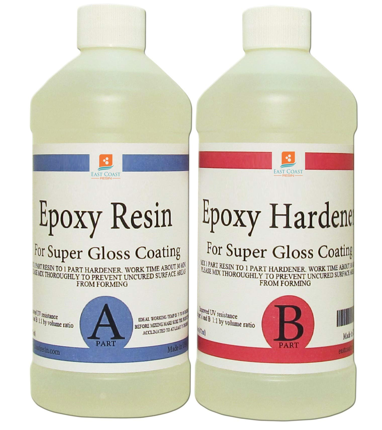 EPOXY RESIN CRYSTAL CLEAR 16 oz Kit. FOR SUPER GLOSS COATING AND TABLETOPS by East Coast Resin