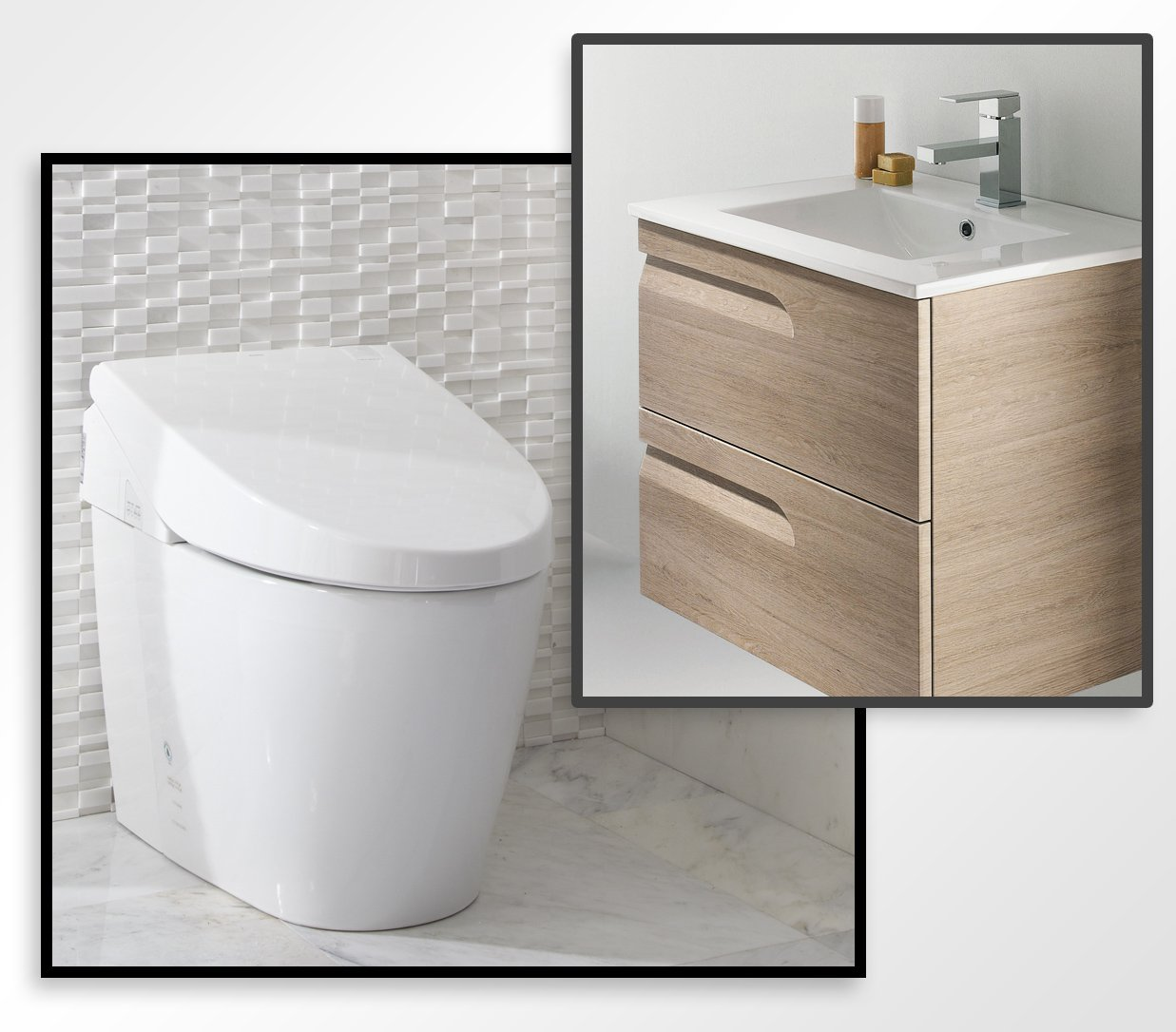 TOTO MS982CUMG#01 Neorest 550H Toilet with FREE 24'' European Floating Bathroom Vanity with Sink, Brown