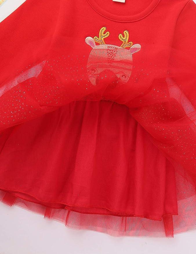 TiaoBug B/éb/é Fille D/éguisement M/ère No/ël Costume Santa Robe de No/ël Wapiti Tutu Rouge Robe /à Manche Longue Coton Robe Princesse Soir/ée F/ête 12 Mois-4 Ans