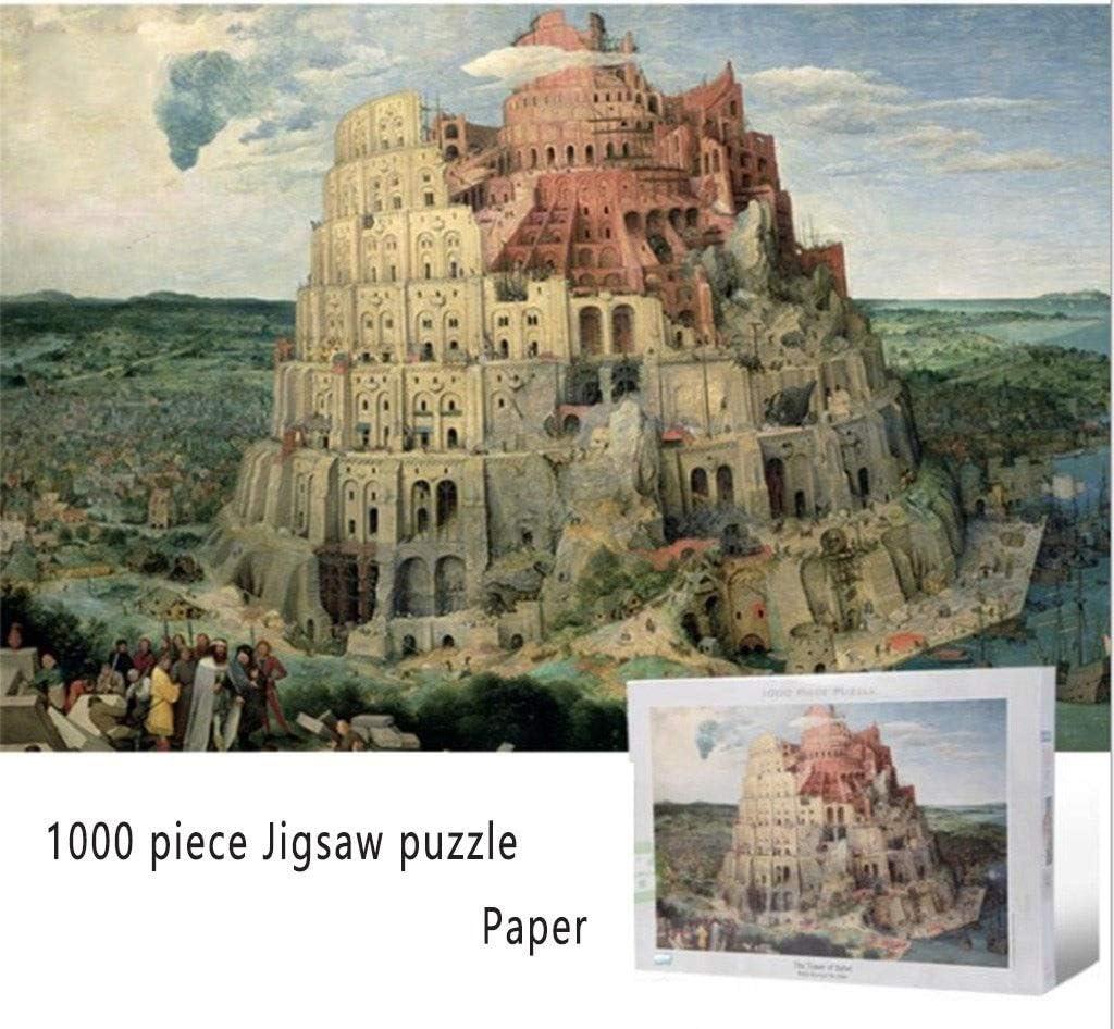 Rompecabezas Adulto y Niña La torre de Babel de Pieter Brueghel - 1000 pieza del rompecabezas de rompecabezas de papel for Adultos Juegos caseros