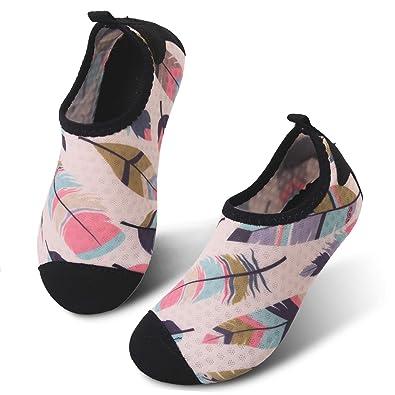 ef08fe08fb55 JIASUQI Boys and Girls Outdoor Water Skin Shoes Aqua Socks for Boating Beach  Swim Beige Leaf